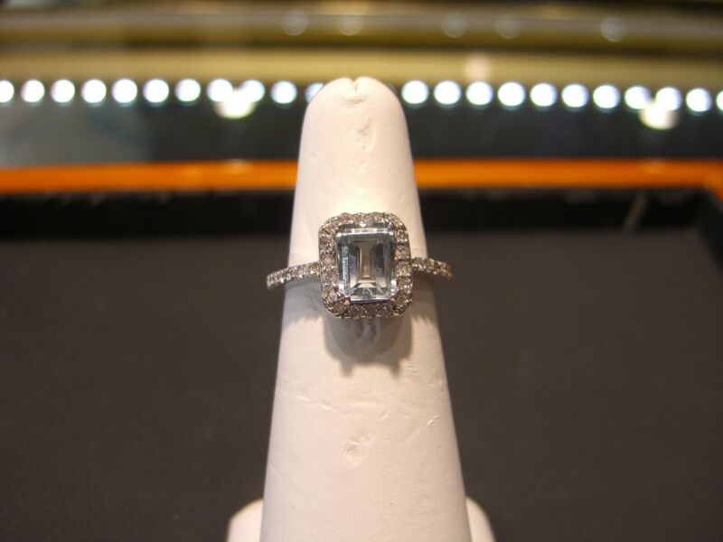 Womens 14 Karat White Gold Diamond And Aquamarine Ring New 2.00 Carat Aqua!