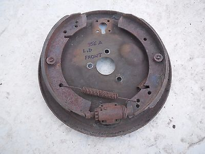 Porsche 356 A Front Drum Brake Backing Plate (Left,Driver Side) + Drum Shoes