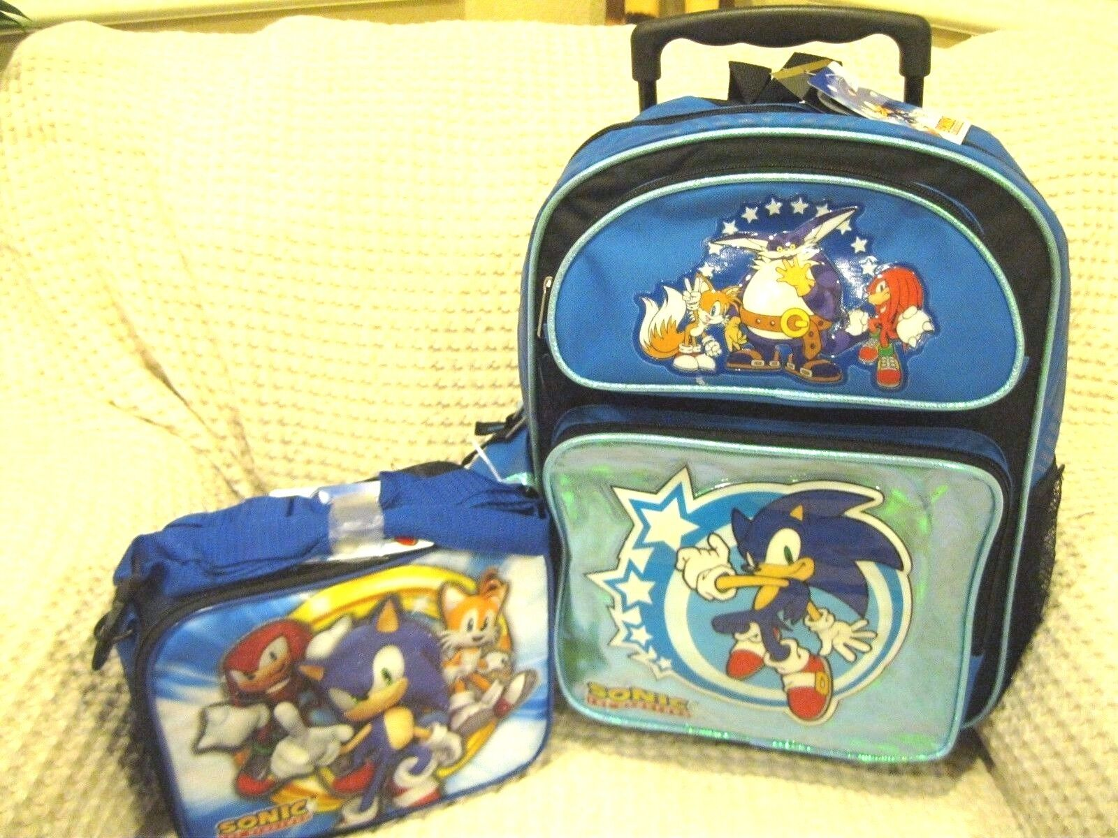 3009c5d5c837 Blue Sonic the Hedgehog Rolling Backpack and Sonic,Knuckles,&Tail Lunchbox  Set