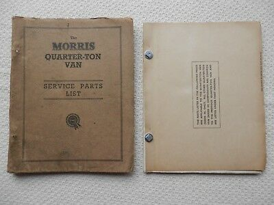 MORRIS Quarter Ton Van early and SIII  (Minor van) Parts List approx 1953-56
