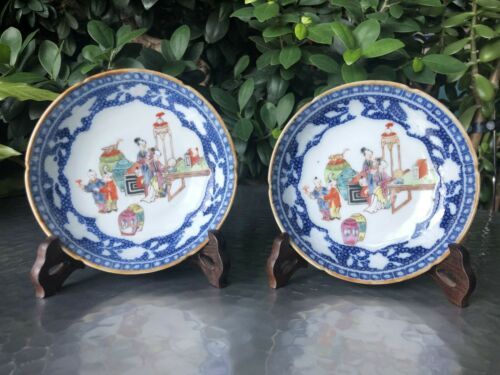 A Rare Excellent Pair of Chinese Qianlong Period Mandarin Pattern Saucers