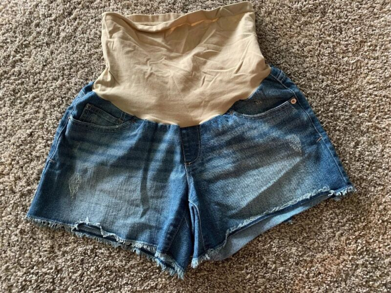 Maternity Cut Off Jean Shorts Oh Baby By Motherhood Maternity Size M