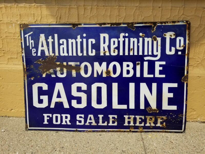 RARE EARLY ATLANTIC REFINING CO. GASOLINE FOR SALE HERE METAL PORCELAIN SIGN
