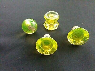 Vaseline Glass Set of 4 Antique Glass Pieces Good Condition No Chips No Cracks