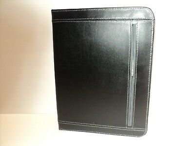 New Leeds Metropolitan Padfolio Premier Leather Black Zippered
