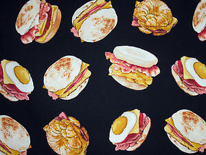Timeless-Treasures-Cotton-Quilting-Sewing-Fabric-Breakfast-Sandwich-Food-1162