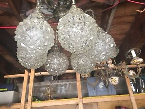 Lamp and chandeliers  all wood frames