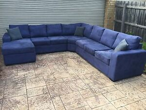 Modular 7 seater Sofa / Couch + chaise suede - THE MANHATTAN Brighton Bayside Area Preview