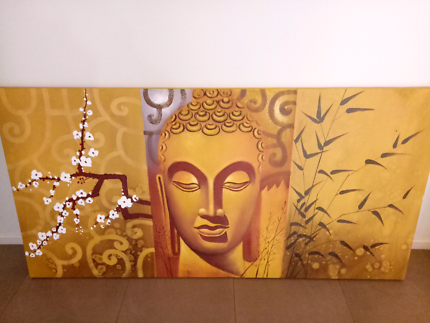 Very large canvas painting of Buddha.