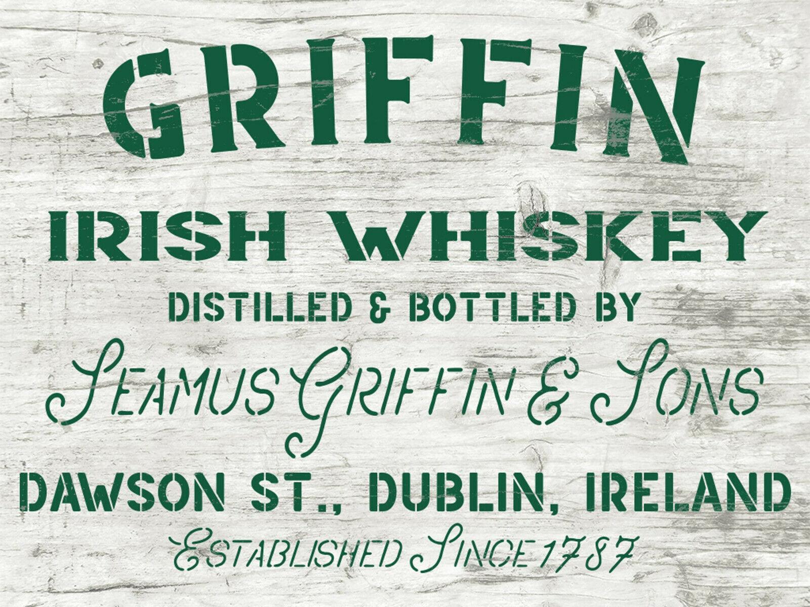 Irish Whiskey Schablone - Hausbar Deko - Whisky Kiste DIY - große Wandschablone