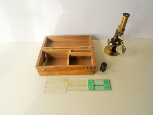 ANTIQUE BRASS LACQUERED FRENCH MICROSCOPE 19th.