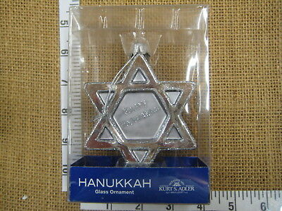 Glass Silver Star Of David Happy Hanukkah Tree Ornament by Kurt Adler - Hanukkah Ornaments