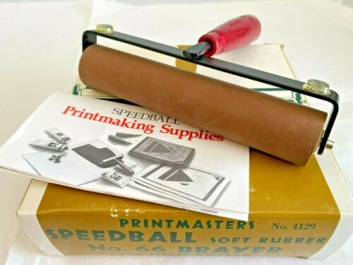 Vintage Printmasters Speedball Soft Rubber No. 66 Brayer ~ 6in Roller ~ No.4129