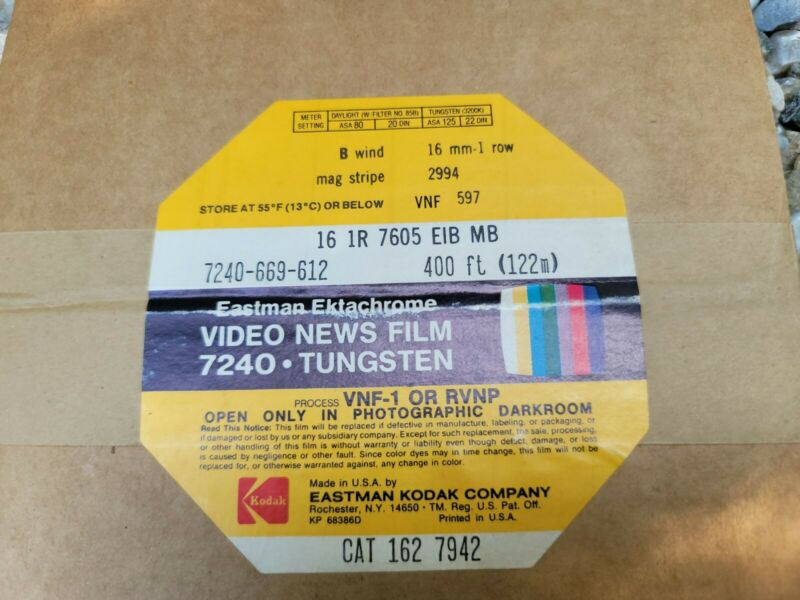 New Old Stock! EASTMAN EKTACHROME VIDEO NEWS FILM 7240 Tungsten 16mm
