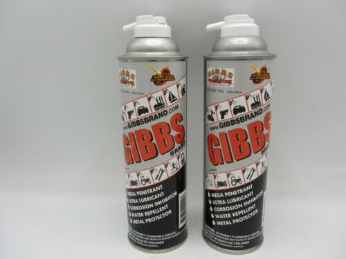 2 CANS OF GIBBS BRAND LUBRICANT PENETRATING OIL CLEANER RESTORER ANTI CORROSIVE