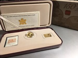 2001 Royal Canada Mint 3 Cents 24K Gold Plated Coin + Stamp set