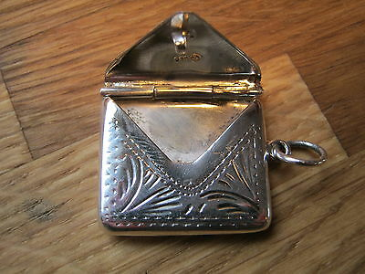 A Victorian Style Chatelaine Hallmarked Silver Envelope Stamp Case Holder