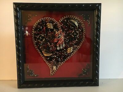 VINTAGE JEWELRY FRAMED ART SHADOW BOX RED BLK GOLD UNICORN HEART VANENTINE