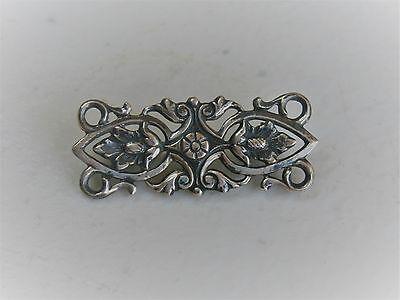 "Vintage 1 1/8"" Sterling Silver Scrolled Leaf Acorn and Floral Brooch Pin"