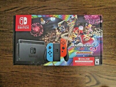 Nintendo Switch Console Mario Kart 8 Deluxe Bundle Neon Blue/Red Joy-Con New