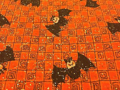 Cute Halloween Bats on Orange Checkered Background w/ Gold Glitter Fabric 19+in.](Orange Halloween Background)