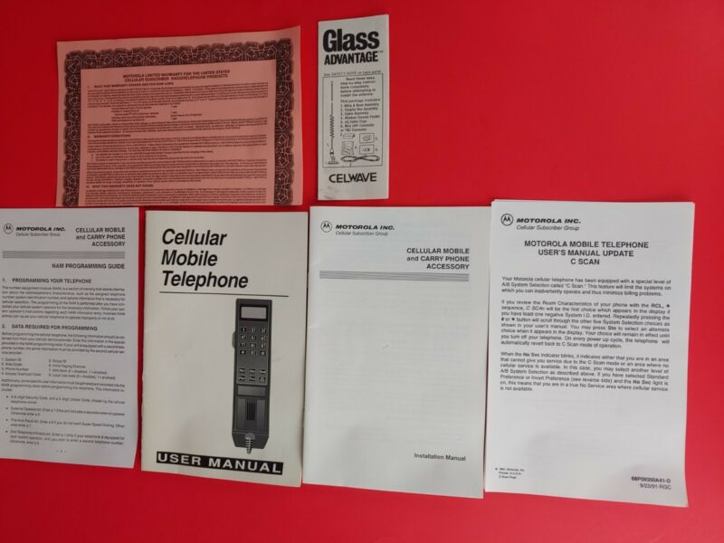Vintage 1991 Motorola Cell Cellular Mobile Phone Owners Manual Used