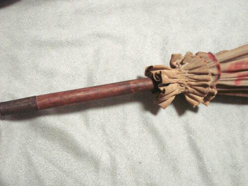 Vintage Edwardian Umbrella 37w 42L wood Handle TLC Antique white tips