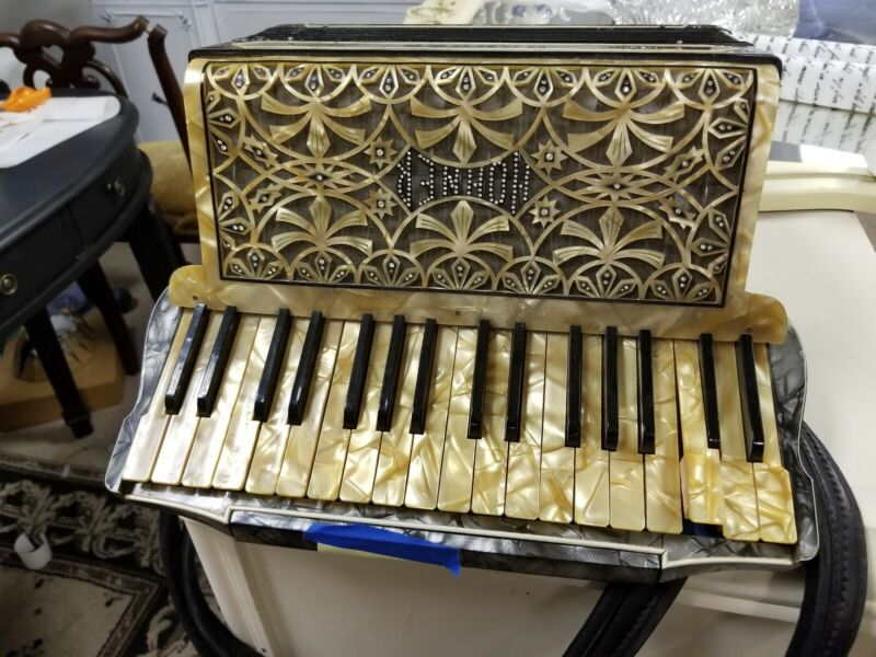 Antique Hohner Accordion Large Jewels Incrusted GOLD MARBLE Faux Diamonds