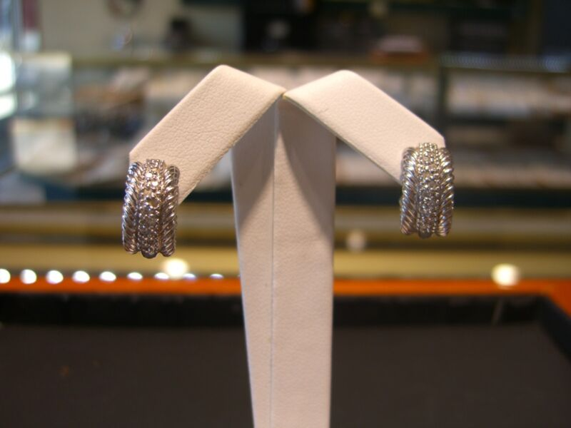 David Yurman Designer 18 Karat White Gold And Diamond Huggie Earrings Wow