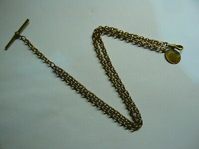 Victorian Belcher Gold Plated Double Albert Pocket Watch Chain & Religious Fob