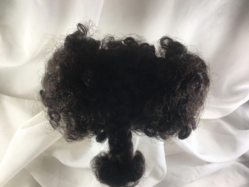 """9/10"""" Ethnic Curls Braid Dk Brown Doll Wig Reborn OOAK BJD Repair STEPHANIE"""