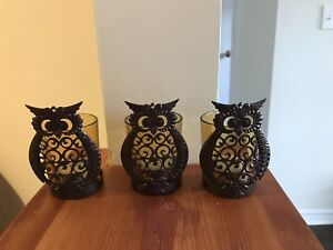 3 Owl Candle Holders