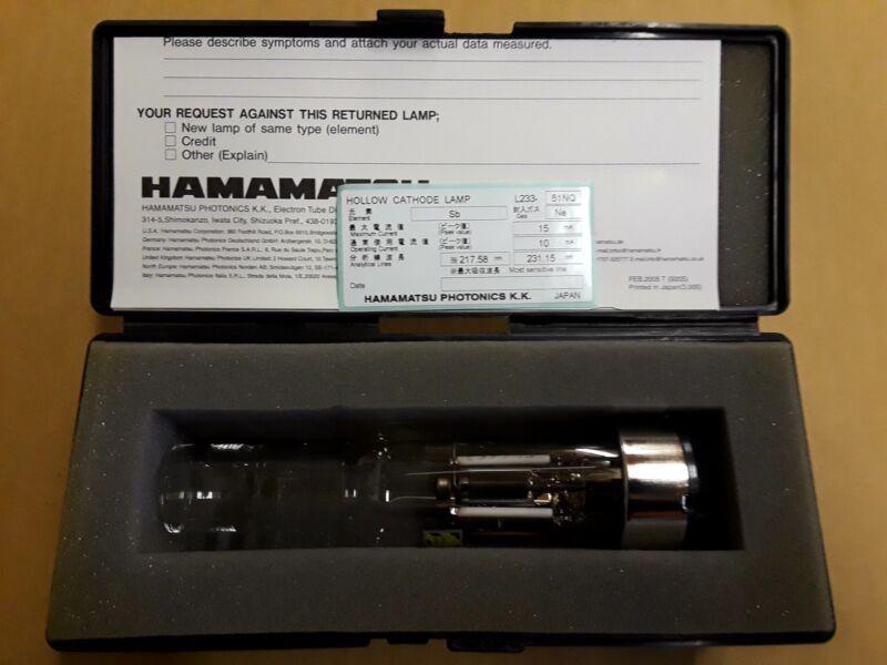 Hollow Cathode Lamp HCl Sb Antimony L233-51NQ Hitachi AN0-0098 Hamamatsu Ne Gas