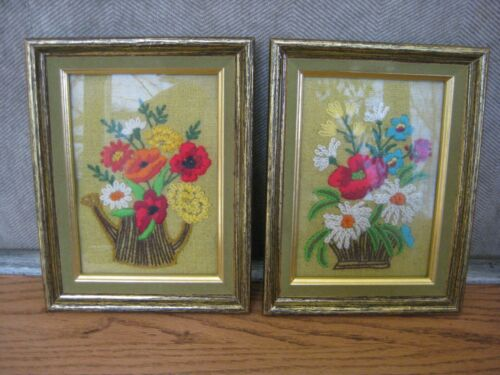 MCM 1970s Crewel Embroidery Bright Flower Bouquet Framed Wall Art Green Flocking