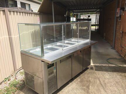 commercial fridge Three door stainless steel prep display fridge