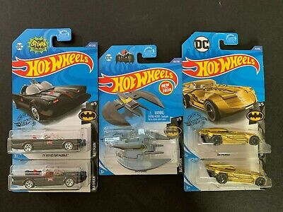 Hot Wheels Lot of 5 Batmobile Gold Chrome, Batmobile TV Series and Batplane 1/64