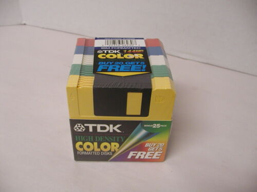 "TDK COLOR 1.44MB HIGH DENSITY IBM FORMATTED 3.5"" FLOPPY DISKS 25 PACK NEW"