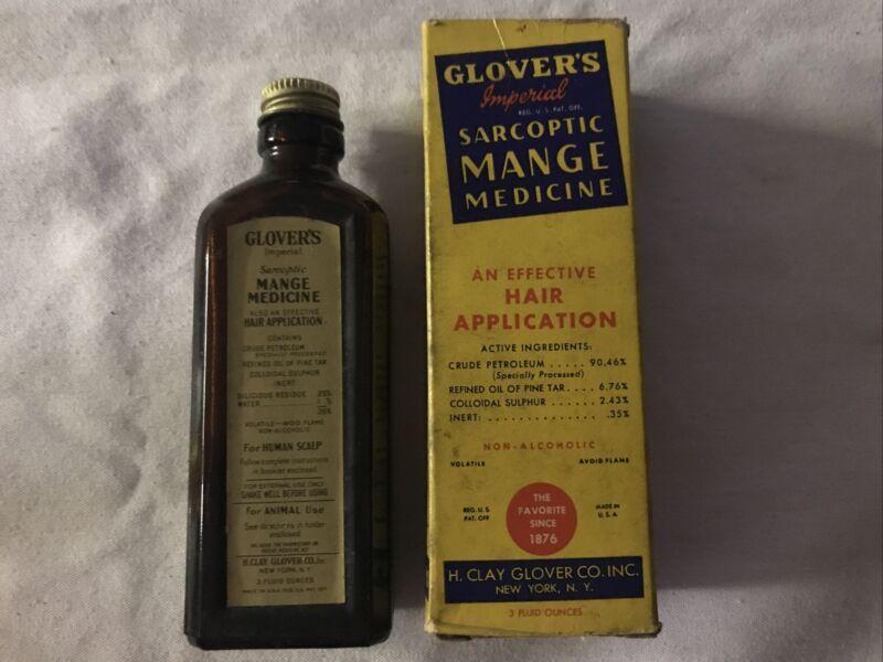 GLOVER'S Sarcoptic MANGE Medicine Vintage Bottle In Original Box
