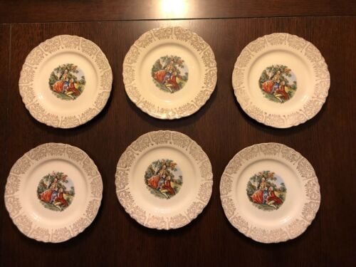 Homer Laughlin Colonial Couple Martha George ~ 7 3/8 Pie Dessert Plates Set of 6