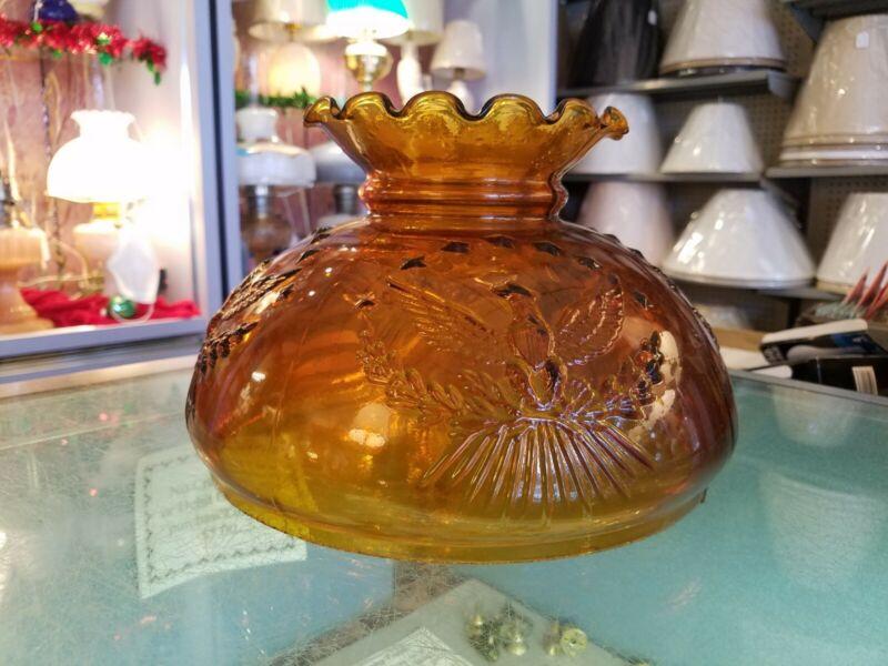 "NOS  Vintage Amber 10"" Glass Shade - Eagle Pattern. Fits Aladdin, Rayo, B & H, +"