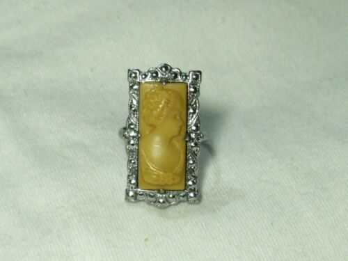 ...Art Deco Silver Tone,Ivory Celluloid Cameo Ring...