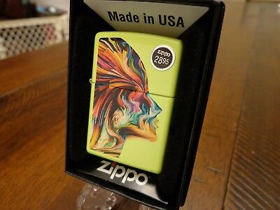 COLORFUL HEAD WOMAN NEON ZIPPO LIGHTER MINT IN BOX
