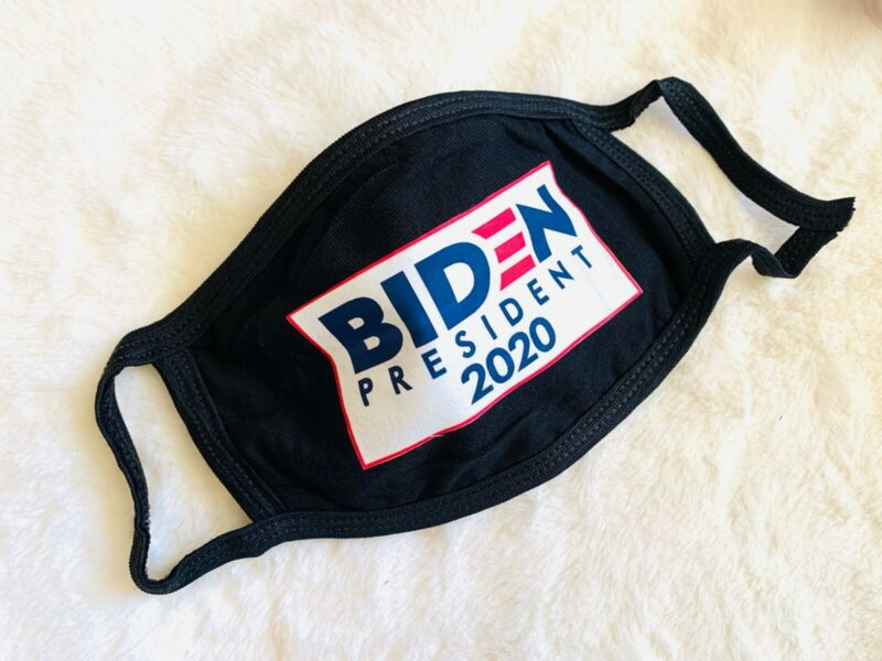 BIDEN 2020 - Black or White Cotton Face Mask Cover Dual Layer Soft Breathable US