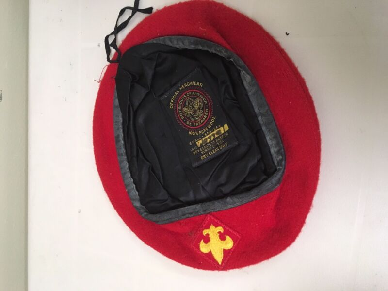 VTG Official Headwear BSA Boy Scouts Of America Red 100% Wool Beret Hat Small