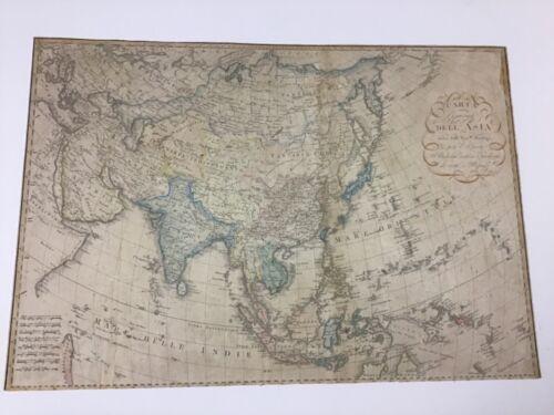 """Rare Fratelli Bordiga Map """"Carta Dell Asia"""" 18th Century"""