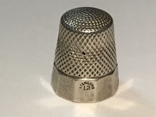 Antique Sterling Silver TEN- Panel Band Thimble Simons Bros. 1890s #12