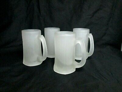 Frosted Glass Beer Mug Stein - Ice Tea - Water - 4 Mugs (Glass Frosted Stein)