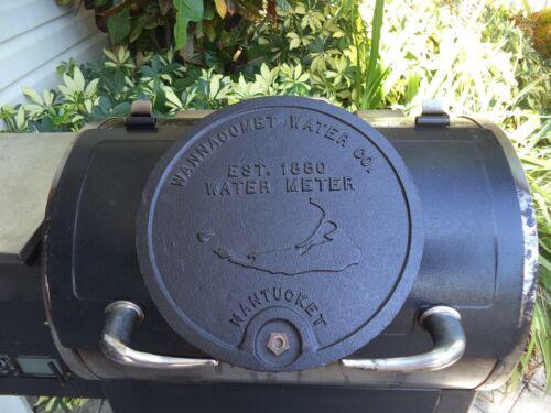 """NANTUCKET WATER METER COVER CAST IRON WANNACOMET EST 1880 12.25"""" DIA / LOCK"""