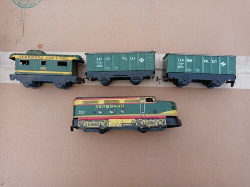Marx green tinplate lithograph freight set