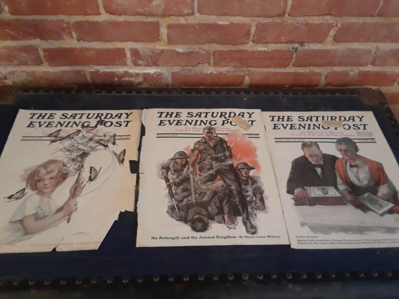 Antique Saturday Evening Post 1911-1918 Covers Vintage Military Advertising